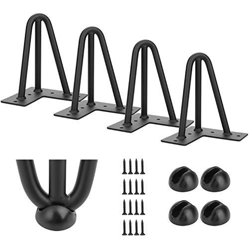 Simniam 4x Hairpin Leg Tischbeine, Haarnadel Tischbeine Schreibtisch, 12mm Stahl, 15cm/3 Streben (6 inches)