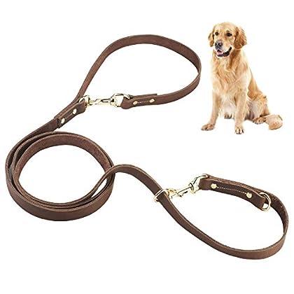 𝗗𝗥𝗘𝗜𝗙𝗔𝗖𝗛 𝗩𝗘𝗥𝗦𝗧𝗘𝗟𝗟𝗕𝗔𝗥 - Mit den Karabinern und Ringen kannst du die Leine als Umhängeleine, Kurzführer, Doppelleine für zwei Hunde oder auf voller Länge (2.4 m) individuell nutzen. 𝗥𝗢𝗕𝗨𝗦𝗧 & 𝗥𝗘𝗜ß𝗙𝗘𝗦𝗧 - Unser Hundeleine ist aus hochwertigem Leder herges...