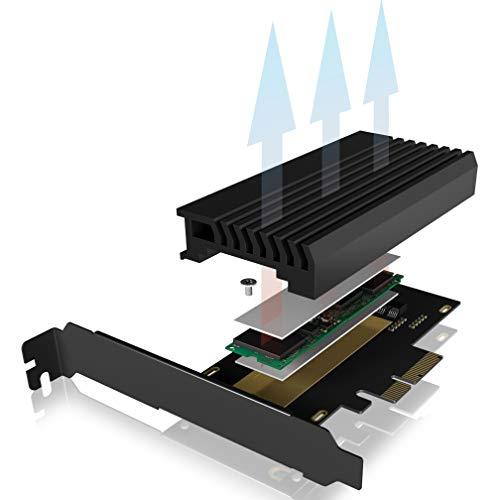 ICY BOX PCI Express Karte, M.2 NVMe SSD zu PCIe 3.0 Adapter, Kühler, LED Beleuchtung, M-Key, 2230, 2242, 2260, 2280, schwarz