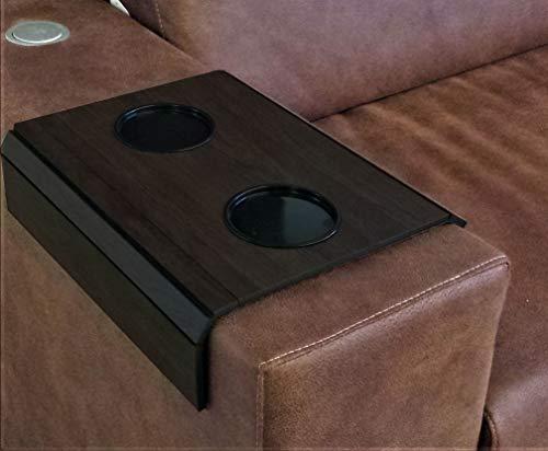 Bandeja esteira para sofá com 2 porta copos, acabamento em BP e veludo, TABACO