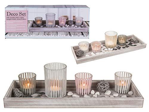 mucHome Deko-Holzteller Dekoteller Geschenkset mit 4 Glas-Teelichthaltern, Steinen und Dekokugeln, Windlichter stimmungsvolle Tischdekoration weiß, grau und pink ca. 40 x 14 x 10cm