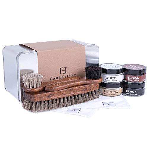 FootFitter Shoe Shine Brush and Polishing Set - (4) Shoe Creams, (3) Horsehair Brushes, (2) Microfiber Shine Cloths, (1) Gift Tin!