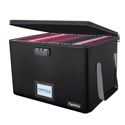 File Box, File Storage box, Tamfile Fireproof File Folder Boxes for Hanging Letter/Legal Filing,Portable Document Organizer with Zipper Lock, Collapsible Office Document Storage Bin with Handle, Black