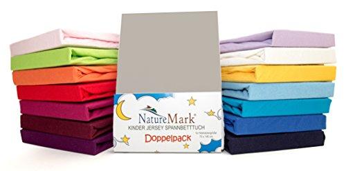 2er Sparpack Kinder Spannbettlaken Jersey 100% Baumwolle für Kinderbettmatratzen ÖKO Tex Geprüft- Gr. 70 x 140 cm, Silber / Hellgrau