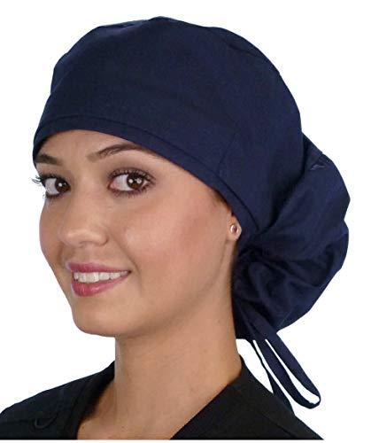 Big Hair Women's Medical Scrub Caps Surgical Caps- Navy Blue