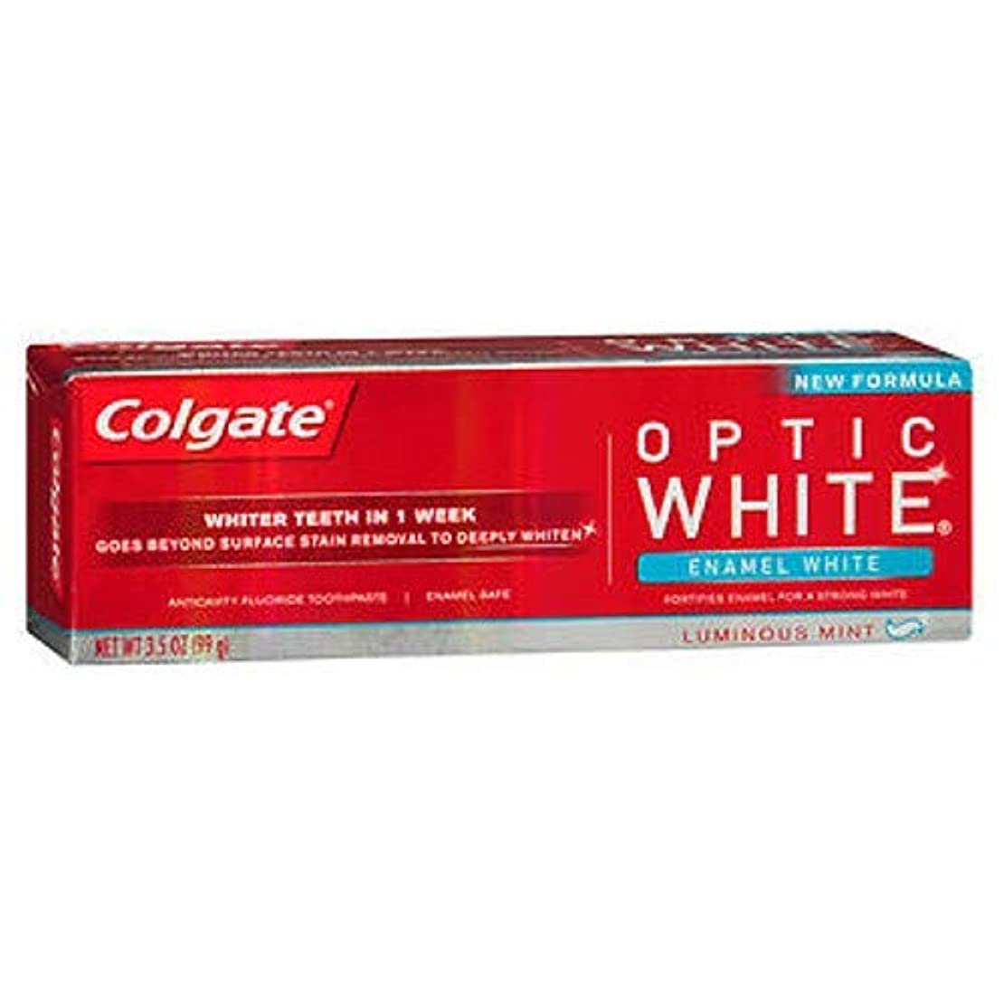 フラッシュのように素早く無能悪名高いColgate オプティックホワイト虫歯予防フッ素の歯磨き粉、エナメルホワイト、ルミナスミント3.5オンス(3パック) 3パック