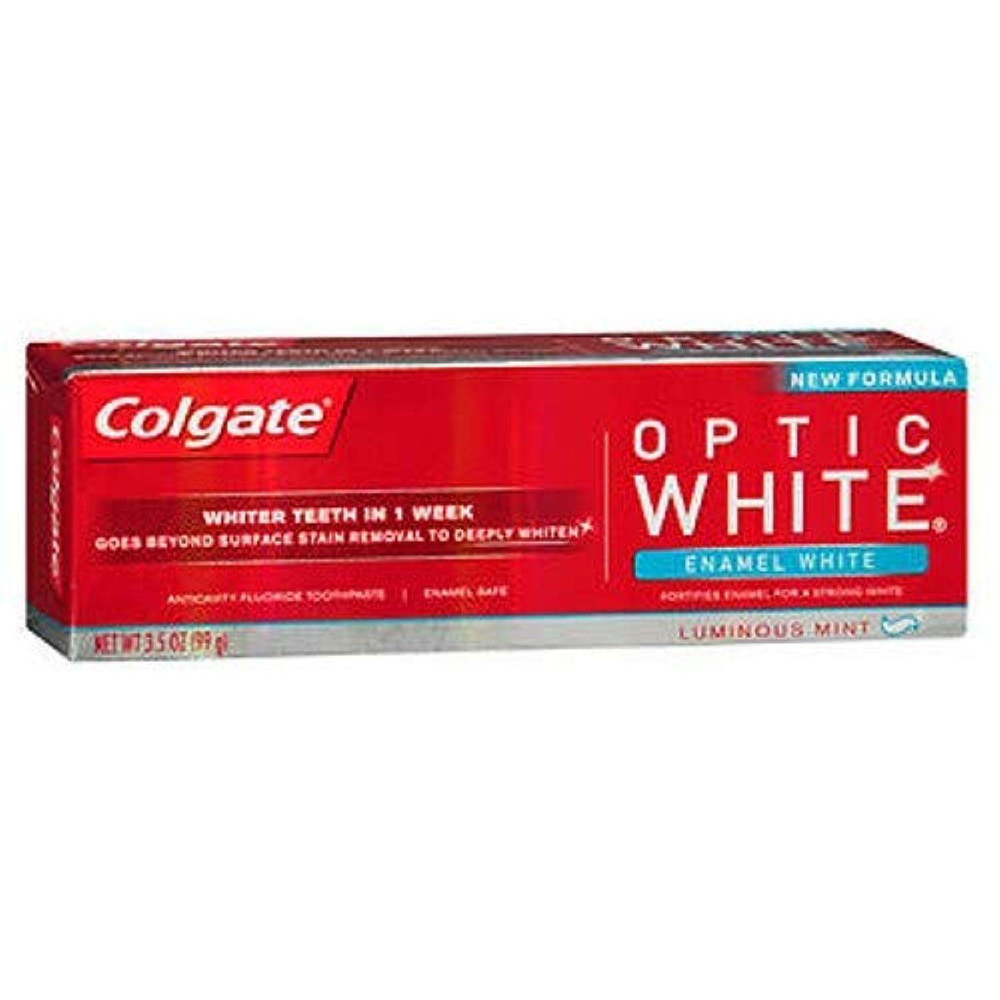 飾るささやき均等にColgate オプティックホワイト虫歯予防フッ素の歯磨き粉、エナメルホワイト、ルミナスミント3.5オンス(3パック) 3パック