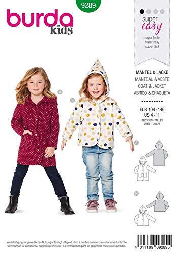 Burda 9289 Schnittmuster Mantel und Jacke (Kids, Gr. 104-146) Level 0 super Easy