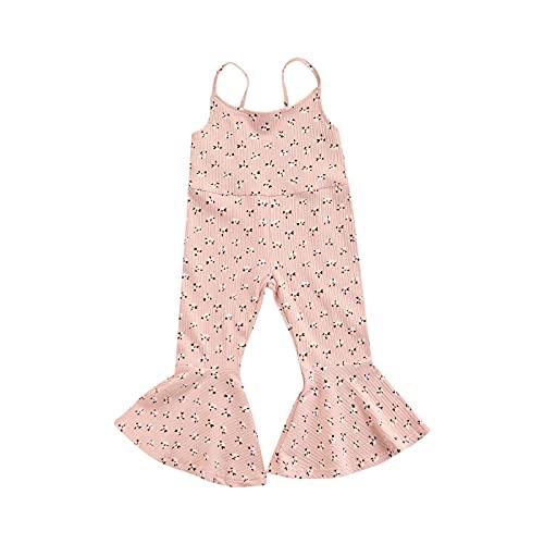 ChouZZ Mono sin mangas para bebés y niñas pequeñas, pantalones acampanados, tirantes en general de verano