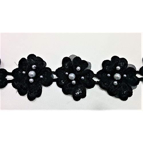 Merceria haarband bloemen met macramé parels hoogte 55 mm stuk 50 cm 10 bloemen
