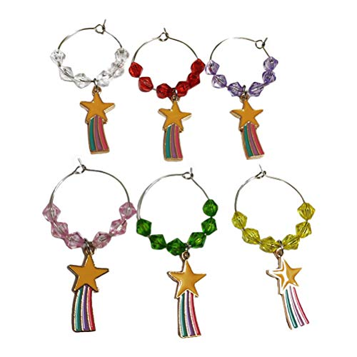 WINOMO 6pcs Hawaii Style Wine Cup Rings Wine Glass Identifiers Cup Signs (Colorful)