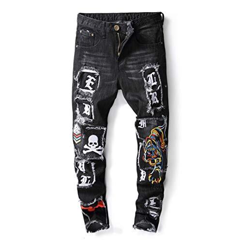FHIORCK Pantalones Cartas cráneo de los Hombres Impreso Tigre Negro B