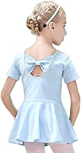 Gymnastics and Ballet Athletic Leotards,Girls' Ballet Leotard Skirted Dance Back Bowknot Dress (Short Sleeve Blue, 10-11 Year)