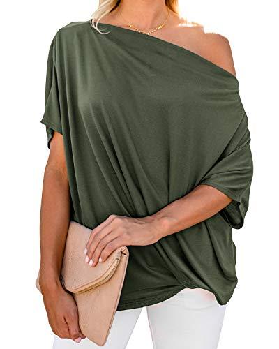 ZANZEA Camiseta Mujer Manga Corta Suelta Tops Color Sólido T-Shirt Hombros Descubiertos Sexy Túnica Blusa Pollover 08-Verde Militar XL