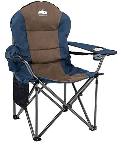 Coastrail Outdoor Camping Chair with Lumbar Back Support, Oversized Padded Lawn Chair Folding Quad Arm Chair with Cooler Bag, Cup Holder & Side Pocket, Supports 400lbs, Brown, XX-Large
