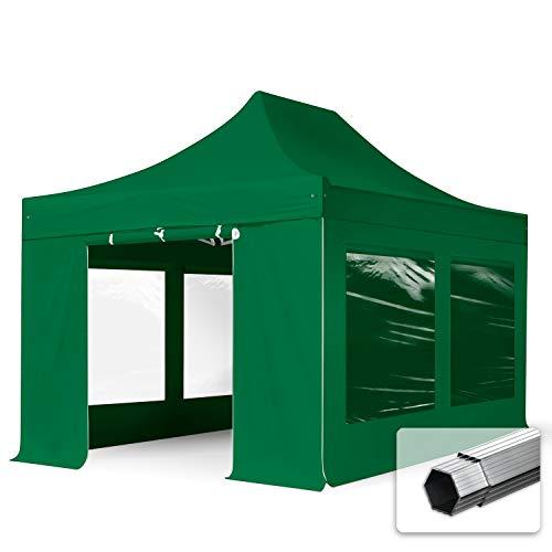 TOOLPORT Faltzelt Professional 3x4,5 m - mit 4 Seitenteilen (Panoramafenster) Faltpavillon ALU Pavillon Partyzelt grün
