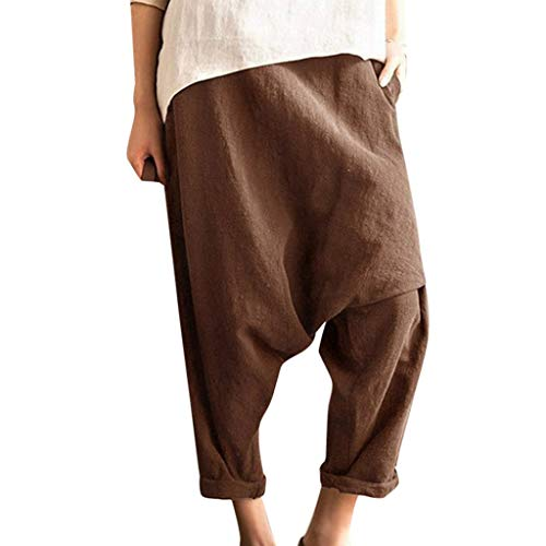 Auiyut Hippie Hose Damen Haremshose Aladinhose Pumphose Yoga Goa Sarouel Sandy Beach Pants Baggy Freizeithose Lose Elastische Taille Leinen Lange Hosen