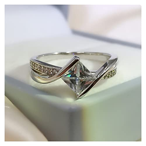 JIANHE Nueva Plata esterlina 925 Twisted Halo Diamond Cut Anillo de Compromiso Exquisito joyería Exquisite (Gem Color : White, Ring Size : 6)