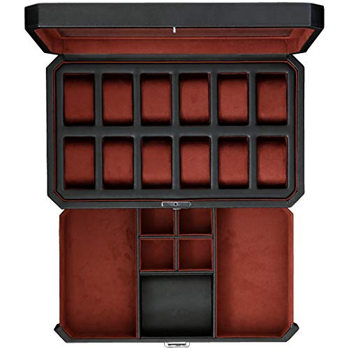 12 Slot Leather Watch Box with Valet Drawer - Luxury Watch Case Display Organizer, Microsuede Liner, Locking Jewelry Watches Holder, Mens Storage Boxes Holder Large Glass Top (Black/Red)