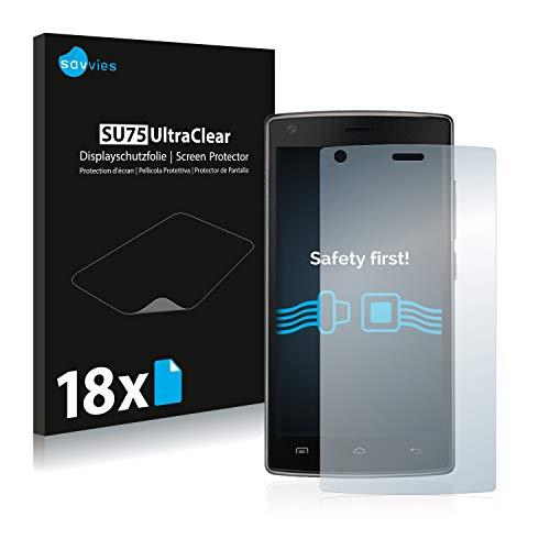 Savvies 18x Schutzfolie kompatibel mit Doogee X5 Max Pro Bildschirmschutz-Folie Ultra-transparent