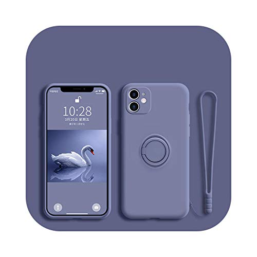 Funda de silicona líquida para iPhone 12 11 Pro Max Mini protector para iPhone 11pro XS Max XR X 7 8 6S 6 Plus SE 2020 cubierta de correa gris-para iPhone 12 Mini