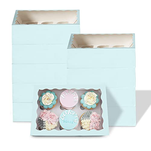 hikkle 6 Hole Cupcake Boxes - Cake Boxes with Window and Cupcake Holder Inserts - Can Also be Used as a Sweets Gift Box, Treat Box or Cookie Box - (Pastel Blue,10-Pack)