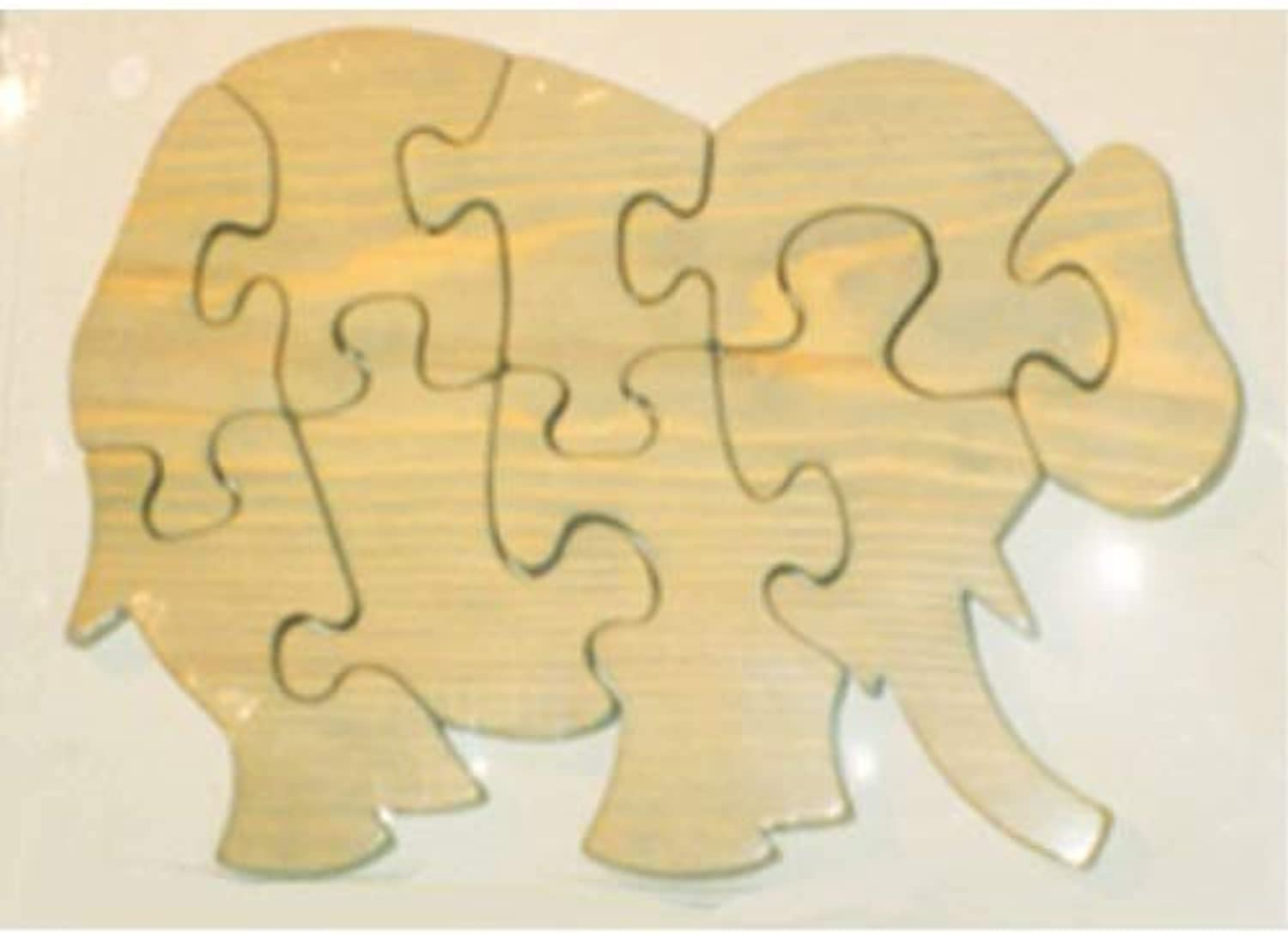 THE PUZZLEMAN TOYS W1207 Wooden Educational Jig Saw Puzzle  Large Elephant