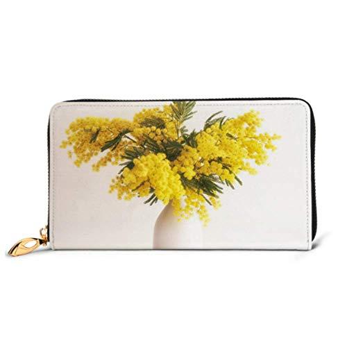 JHGFG Mode Handtasche Reißverschluss Brieftasche Vase Mimose Blumen auf Holz Telefon Clutch Geldbörse Abendkupplung Blocking Leder Brieftasche Multi Card Organizer