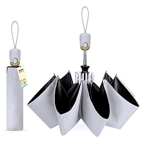 【完全遮光 UPF50+】 日傘 uvカット99% 紫外線遮蔽 遮熱 折りたたみ 傘 大きい レディース メンズ ワンタッチ自動開閉 おりたたみ傘 熱中症対策 晴雨兼用 折り畳み傘 耐風 撥水 収納ケース付き DeliToo (グレー)