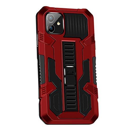 MOONCASE Funda para iPhone 12 Mini 5.4', Estuche Protectora Resistente y Delgada a Prueba de Golpes con Soporte [Grado Militar] Carcasa Protectora de Doble Capa Caso -Rojo