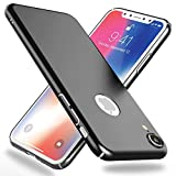 NALIA Funda Compatible con iPhone XR, Hard-Case Protectora Ultra-Fina Bumper Carcasa Dura en Look de Metal, Ligera Cubierta Telefono Movil Cobertura Premium Smart-Phone Cover, Color:Negro