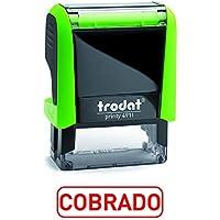 Trodat 4911 Printy Sello Fórmula Comercial con Texto COBRADO, entintaje automático, Tamaño de la Placa de Texto 37 x 14 mm, Rojo