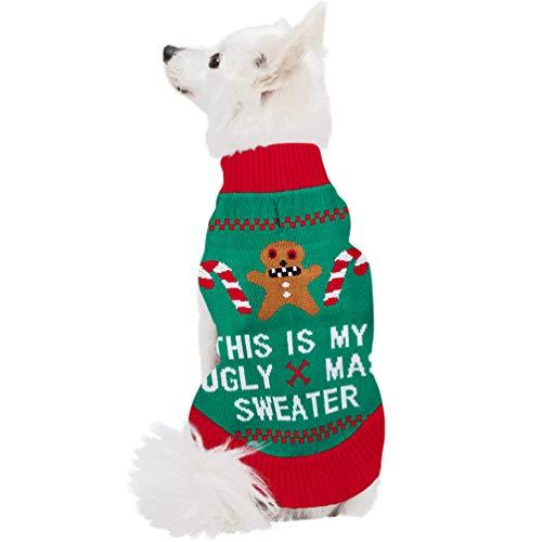 ALISISTER Suéter navideño para Perros Alister, tamaño Grande, diseño de Perro Shih Tzu, Hombres de jenjibre, L (Back:14',Neck:13',Chest:19-22')