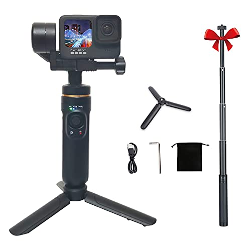 3-Axis Action Camera Gimbal Stabilizer Compatible with GoPro Hero9/8/7/6/5, OSMO Action,Insta360 ONE R,9H Battery Life, with Tripod and Extension Rod Kits,INKEE Falcon