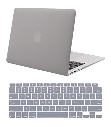 """New Hard Shell Plastic Clip Case for MacBook Air 13"""" M1 (2020-2021) and MWT (2018-2019) Laptop Computer with Matching Color Keyboard Cover (Models A2337 A2179 A1932) (Gray)"""