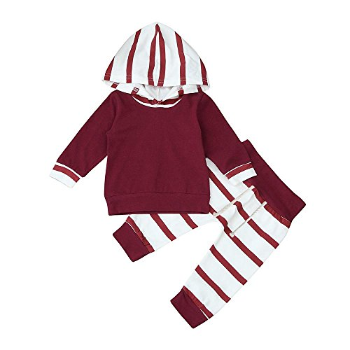 Staron 2pcs Toddler Baby Boy Striped Hoodie Tops+Pants Clothes Set Infant Outfits (6-12 Months, Red)