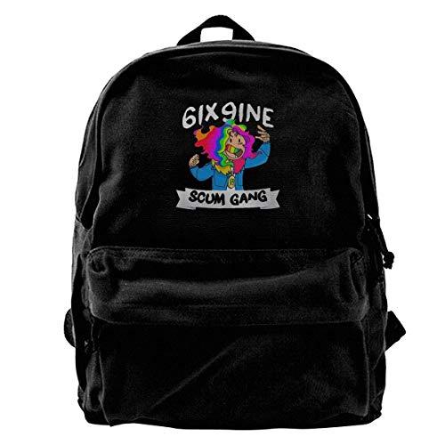 Canvas Backpack 6ix9ine Rucksack Gym Hiking Laptop Shoulder Bag Daypack For Men Women