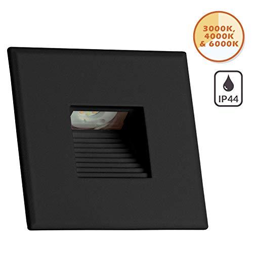 Preisvergleich Produktbild IP44 LED Treppenbeleuchtung 3-Color 3000K / 4000K / 6000K - 3W - schwarz - für Schalterdoseneinbau 60mm - eckig - warmweiß - neutralweiß - kaltweiß - 230V [Stufenbeleuchtung - Wandbeleuchtung]