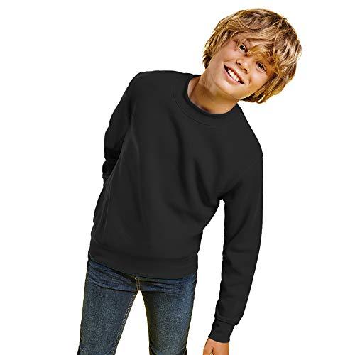 Sudadera Colores para niños con diseño clásico, Cuello, puños y Cinturilla de Punto de canalé – Sudadera Cómoda, cálida, Lisa y Elegante (Negro, 5/6 Años)