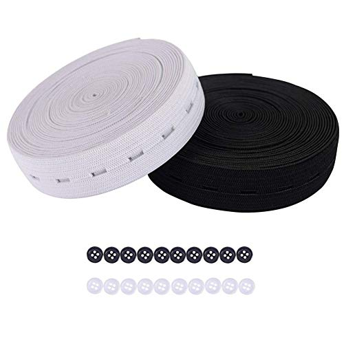 DABER VICH 3/4 Inch 11 Yards Buttonhole Knit Stretch Elastic Bands and 20pcs Resin Buttons (Black and White Each Color 5.5 Yards and Each Color 10pcs)