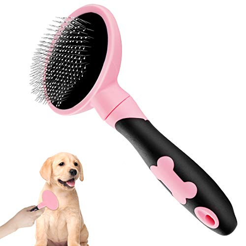 Makerfire Cepillo para Perros de Pelo Largo Pelo Corto, Cepillos para Gatos, Flexible Slicker Brush for Mascota-Rosa