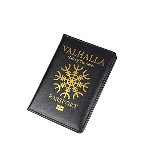 Vikings Pasaporte Vikingo Valhalla (Hall Of The Slain) | Funda protectora para tarjeta de identificación | Thor | Valknut | Cultura nórdica, regalo para hombres