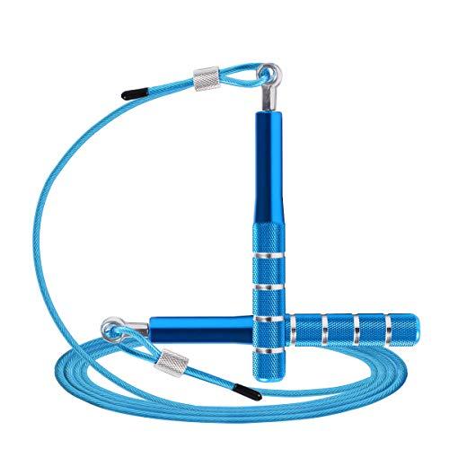 Cuerda de Saltar, Wastou Cuerda de Saltar de Velocidad para Entrenamientos de Fitness, Cuerda de Saltar Ajustable para Adultos con Cojinetes de Bolas, para Hombres, Mujeres, Niños y Niñas-3M (Azul)
