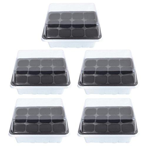 Yakok Lot de 5 bacs à graines 12 cellules avec couvercle pour semences de germinateur et germinateur 5pcs blanc