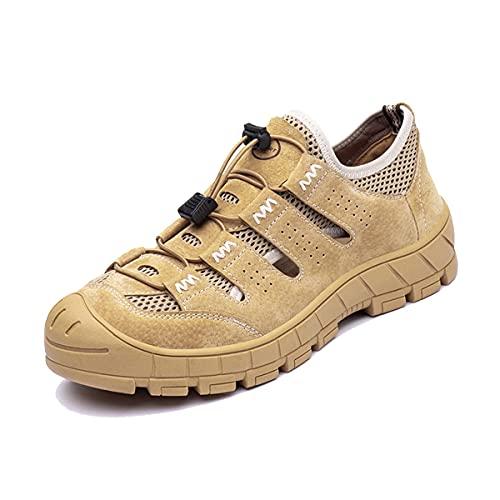 Aingrirn Zapatos de Seguridad Hombre Mujer Zapatillas de Trabajo con Punta de Acero Respirable Calzado de Industrial y Deportivos (Color : Beige, Size : 44 EU)