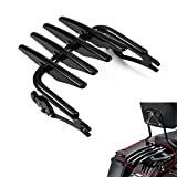 PBYMT Black Detachable Stealth Mounting Luggage Rack Compatible for Harley Touring Street Glide Road King Electra Glide 2009-2021