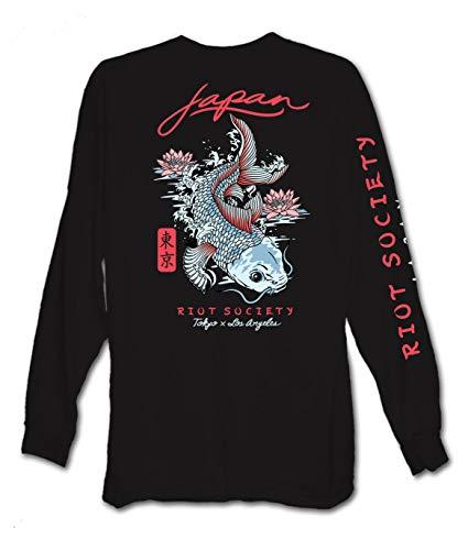 Riot Society Japan Koi Lotus Mens Long Sleeve T-Shirt - Black, Small
