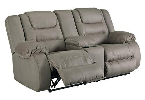 Signature Design by Ashley - McCade Contemporary Upholstered Double Reclining Loveseat with Console - Gray