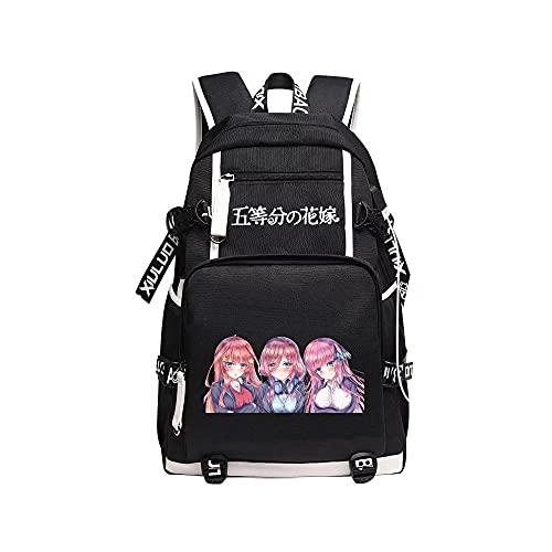 Mochila De Anime The Quintessential Quintuplets Backpack para Ordenador Portátil Mochila De Viaje Mochilas para Estudiantes Niños Niñas Adolescentes Negro