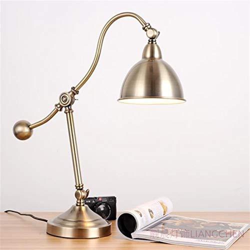 Drdcsad Lámpara de Mesa Estilo Americano Retro Lámpara de Mesa LED, lámpara de Escritorio Vintange Cobre Antiguo cabecera Lee la Tabla de Las Luces